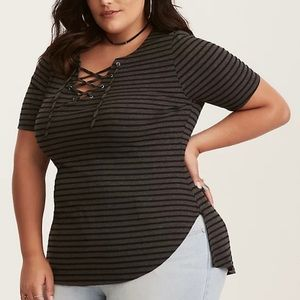 Torrid Striped Ribbed Knit Lace Up Tee 3X NWT
